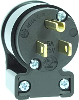 Journeyman-Pro 515AN 15 Amp 120-125 Volt, NEMA 5-15P, 2Pole 3Wire, Straight Blade, 90 Degree Right Angle Male Plug Replacement Cord Connector Outlet, Commercial Grade PVC (BLACK 1-PACK)