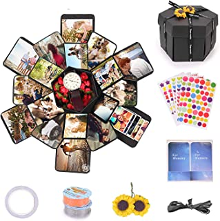 EKKONG Explosion Gift Box, DIY Photo Album, Creative Gift Box with 6 Faces for Birthday, Wedding,Graduation, Valentine's Day and Mother's Day Gift(Black)