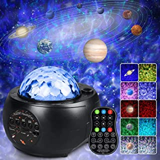 infinitoo Night Light Projector, Galaxy Projector Light Starry Star with 9 Planets Night Light Built-in Bluetooth Speaker,...