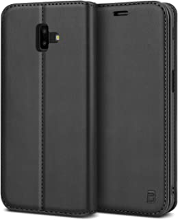 BEZ Funda Samsung Galaxy J6 Plus, Carcasa Funda Piel con Carcasa Interna de TPU Compatible para Samsung Galaxy J6 Plus, Libro de Cuero con Tapa y Cartera, Cierre Magnético, Negro