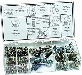 "Lumax Gold/Silver LX-4841 (SAE) 1/4""-28 Taper and 1/8"" P.T.F. 100 Piece Grease Fitting Assortment. Designed to Meet The demanding Requirements of Most Automotive, Agricultural, Industrial"
