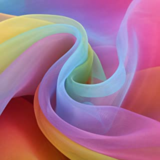 BBTO 16 Feet by 54 Inch Organza Voile Dress Fabric Fancy Costumes Decorations (Rainbow Color)