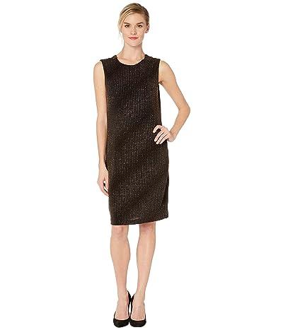 Vince Camuto Sleeveless Gold Textured Knit Dress (Rich Black) Women