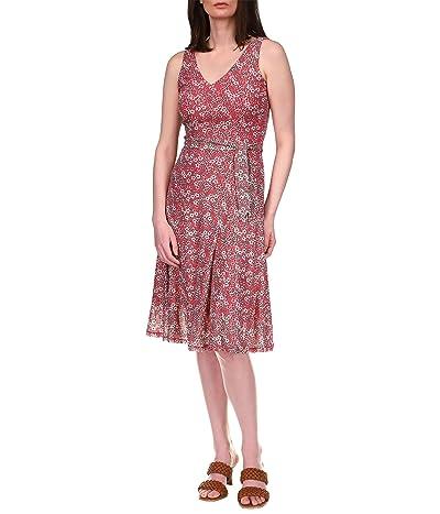 MICHAEL Michael Kors Floral Mesh V-Neck Flare Dress