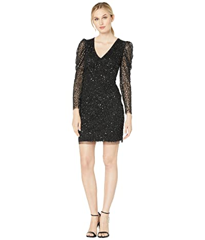 Adrianna Papell Long Sleeve Beaded Cocktail Dress (Black) Women