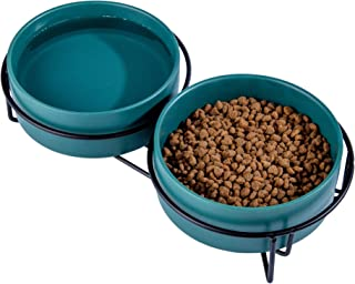 Ulmpp Cat Food Bowls,Elevated Cat Bowls,Raised Pet Food Water Bowls with Stand,Ceramic Pet Bowls for Cat or Dogs,12 Ounces...