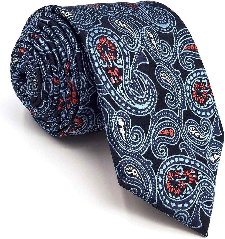 S&W SHLAX&WING Ties for Men Set Neckties Pocket Square Cobalt Blue Paisley