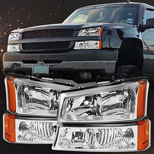 2021 ALS Replacement For Silverado 2003-2007 & Avalanche 2003-2006 Headlights Headlamp + Bumper Lamp Assembly Chrome online online Housing Amber Reflector Passenger and Driver Side outlet sale