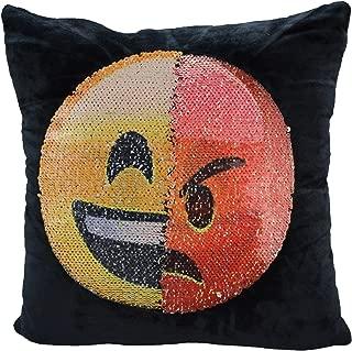 Mermaid Sequin Pillow Case,SNUG STAR Reversible Emoji Cushion Cover Changeable Face Pillowcases DIY Decorative Pillowcase for Sofa Home Decor 16 X 16