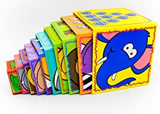Little Archer & Co.™ Animal and Number Cardboard Stacking Blocks - Perfect for Learning, Fine Motor Skills and Play,