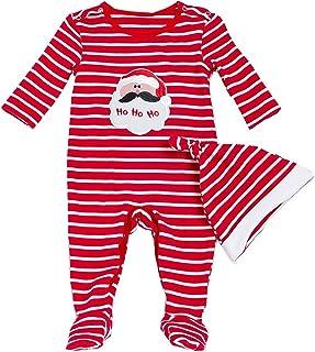 b5f076ca6db67 DecStore Bébés Filles Garçons 2pcs Noël Costume Père Noël Footies Romper  Pyjama Grenouillère avec Chapeau