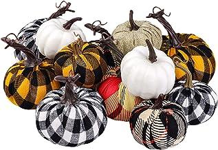 Elcoho 12 Pack Harvest Fabric Artificial Pumpkins Fall Festival Burlap Pumpkins Decoration for Fall Wedding Thanksgiving H...