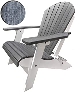 DURAWEATHER POLY Classic King Size Folding Adirondack Chair (Driftwood Gray on White)