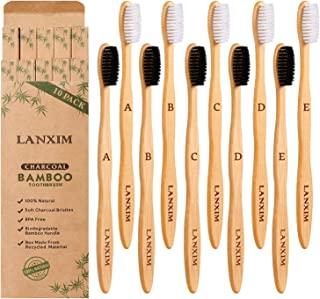 10 Pack Natural Biodegradable Bamboo Toothbrushes, BPA-Free Eco-Friendly Soft Bristles Charcoal Toothbrushes, Black/White