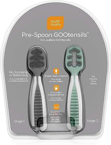NumNum - Pack 2 PréCuillère d'Apprentissage pour Bébé (6+) - Gris + Vert - Silicone - Ideal BLW