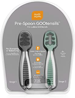 NumNum Pre-Spoon GOOtensils | Baby Spoon Set (Stage One + Stage Two) | BPA Free Silicone Self Feeding Utensil | #1 Doctor Recommended Baby Led Weaning Spoon for Kids Ages 6 Months+ (Gray/Green)
