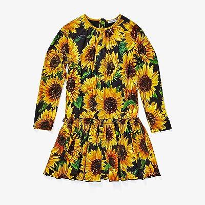 Dolce & Gabbana Kids Sunflower Print Modal Dress (Big Kids) (Nero) Girl