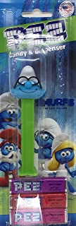 Pez Candy & Dispenser Smurfs - Brainy Smurf - With 3 Candy Packs