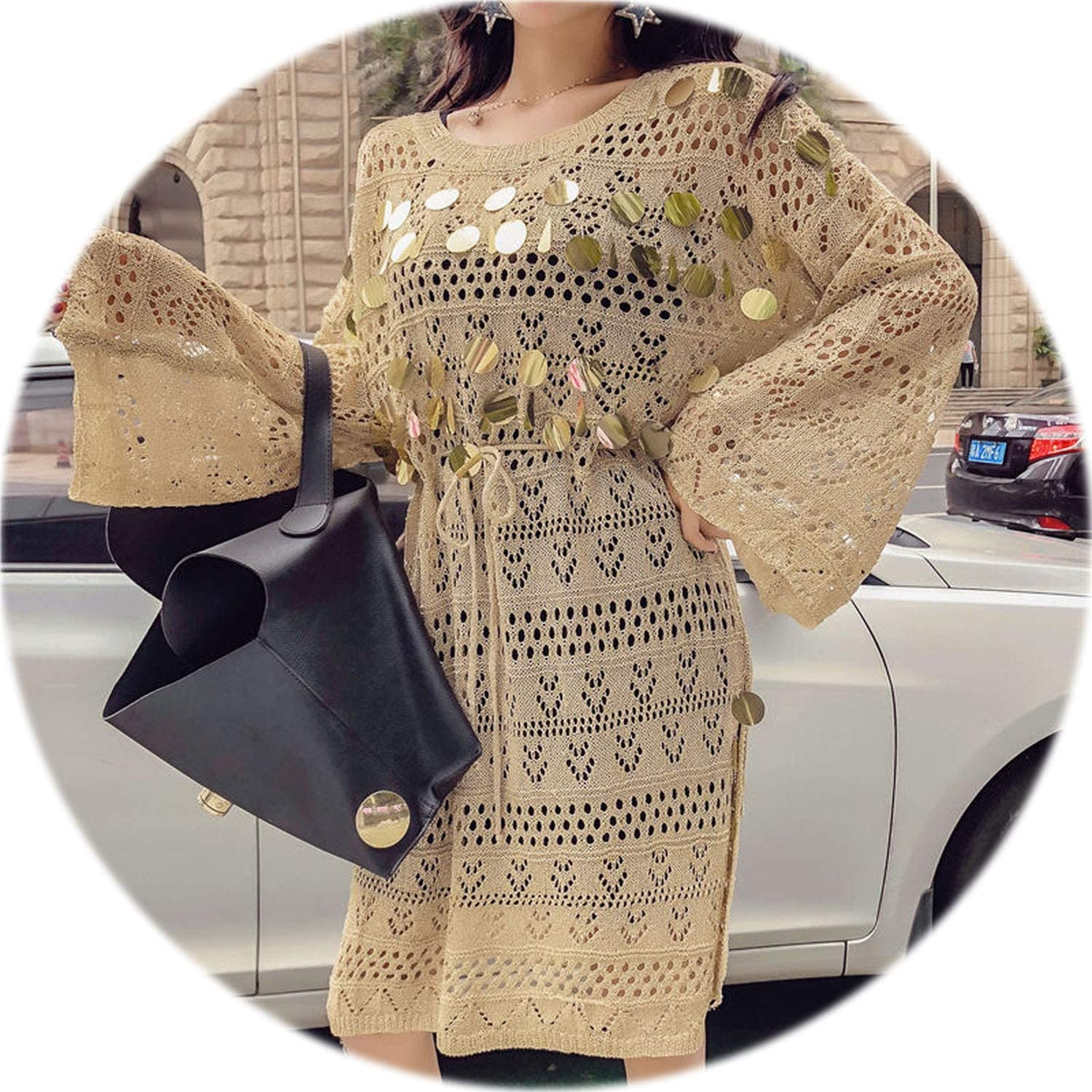 Rather be ONeck HollowOut Sequined Knitted Dress Loose Side Split MidLength Fashion Vestidos Women Sweater Dresses