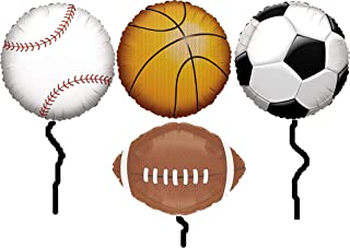 Sports Themed Party Supplies 18 Inch Mylar Balloon Bundle: One Balloon Each of Basketball, Baseball, Football & Soccer Balls for Birthday, Sporting Events, Tailgating, Centerpiece