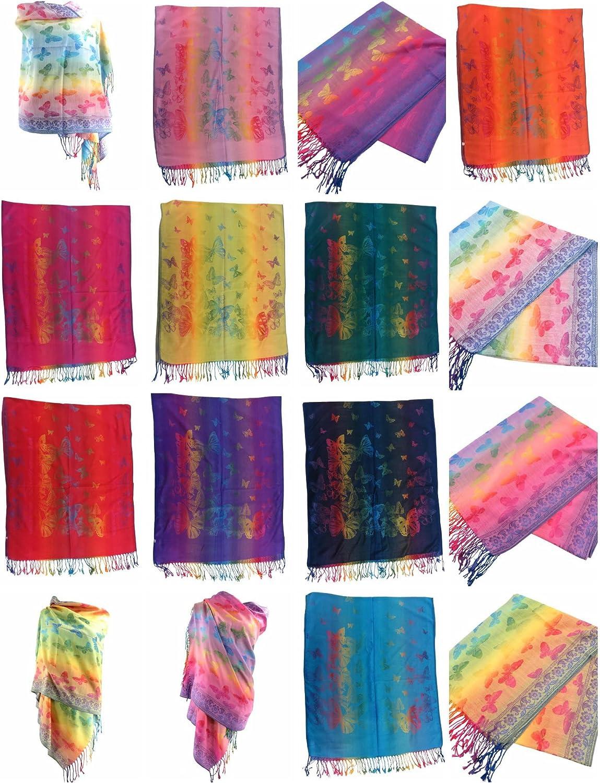 12 scarves butterflies mandala rainbow pashmina shawl wrap stole Wholesale Jacquard woven shawl