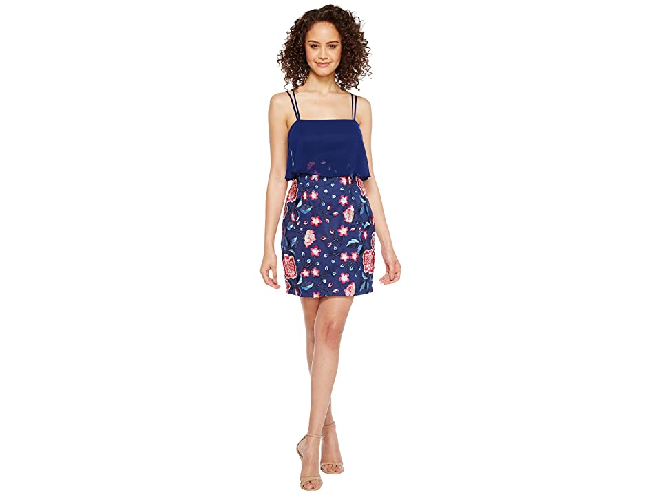 Image of Aidan Mattox Chiffon and Embroidered Popover with Skirt (Blue Multi) Women's Dress