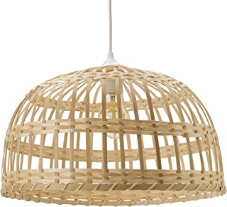 Lusiel Phuket, lámpara colgante de bambú, 60 W, natural, diámetro 40 x altura 22 cm
