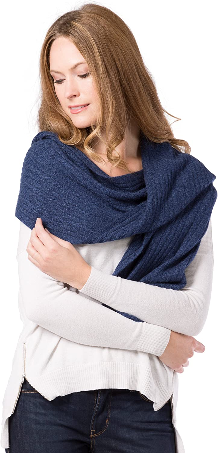 Fishers Finery Women's Cozy Cashmere Cable Knitted Winter Scarf