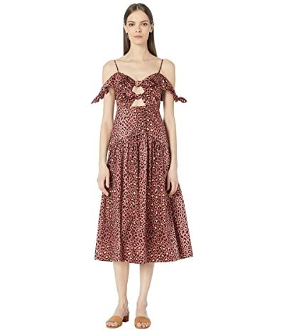 Rebecca Taylor Off-The-Shoulder Spring Leopard Bow Dress (Henna) Women
