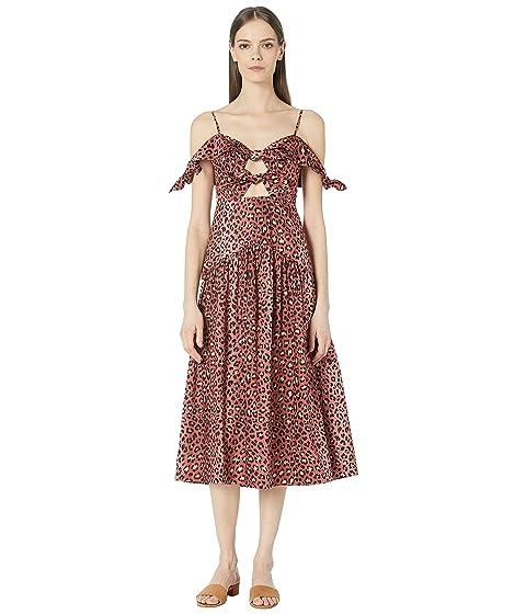 Rebecca Taylor Off-The-Shoulder Spring Leopard Bow Dress