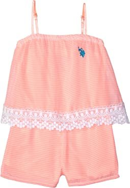 Neon & White Stripe Chiffon Romper (Little Kids)