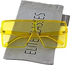 Oversized Exaggerated Flat Top Huge SHIELD Square Sunglasses Colorful Lenses Fashion Sunglasses