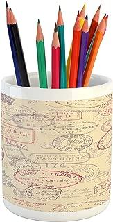 Ambesonne Vintage Pencil Pen Holder, Retro Design Inspired Postage Illustration with Beige Background Antique Stamps, Printed Ceramic Pencil Pen Holder for Desk Office Accessory, Multicolor