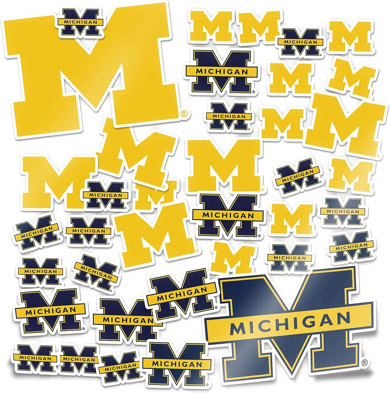 University of Michigan Wolverines Sticker Vinyl Decal Laptop Water Bottle Car Scrapbook (Type 1 Sheet)