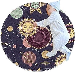 Sol och planeter, barn rund matta polyester överkast matta mjuk pedagogisk tvättbar matta barnkammare tipi tält lekmatta