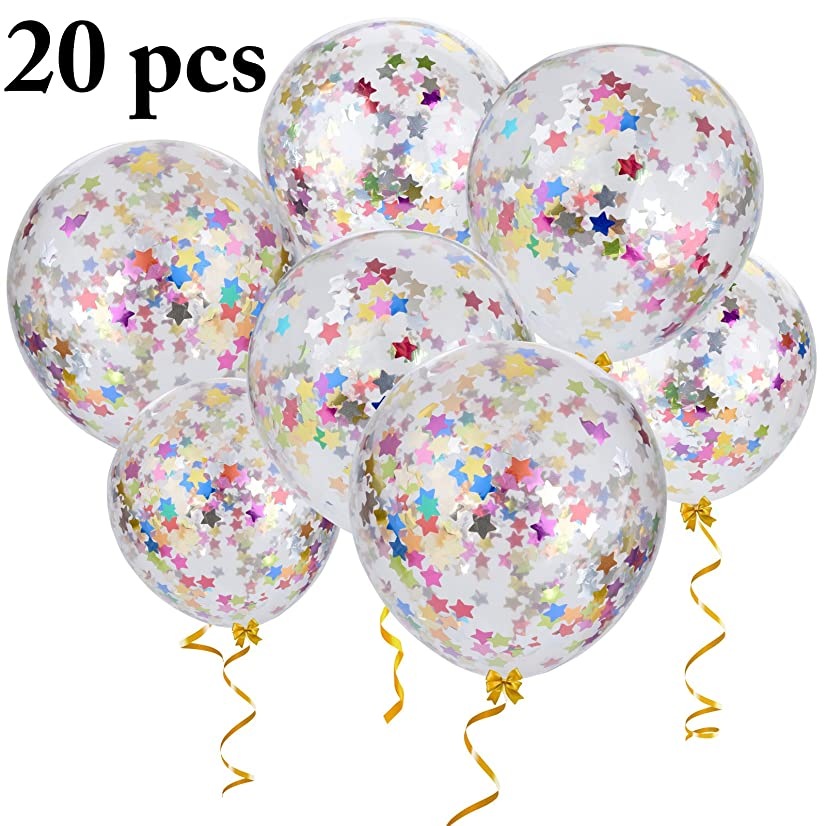 Outgeek Confetti Balloons, 20 PCS 12 Inch Large Star Confetti Balloons Transparent Balloons Latex Balloons with Star Confetti for Wedding Party Birthday Party Halloween Christmas Decorations