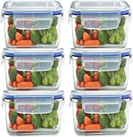 SUKEYBA Plastic Airtight Microwave Safe Food Storage Container for Fridge with Lid (Clear, 400 ml, 6)