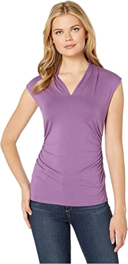 Sleeveless Pleat V-Neck Top
