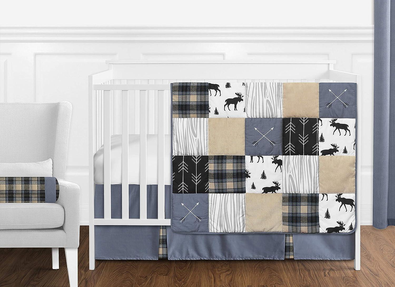 Sweet Jojo Designs Blue Tan gift Grey gift and Black Plaid Woodland