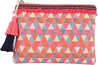 ASTRID Multicolor Cotton Makeup/Travel Pouch With Tassels For Women And Girls