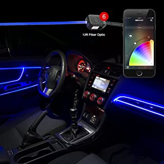 6pc LED Head 2pc 6ft Fiber Optic Roll Light Kit XKchrome App Controlled Bluetooth Enabled Automotive Car Truck Dash Door Interior Architectural Home Indoor Accent Flexible w/Mounting Tab 5V Advanced