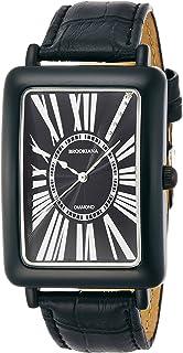 [ブルッキアーナ]BROOKIANA 腕時計 クオーツ 天然ダイヤモンド レクタンギュラーケース ローマインデックス ブラック×ブラックレザー BA5102-BKBKBK メンズ 腕時計