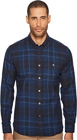 Point Collar Plaid Flannel Shirt