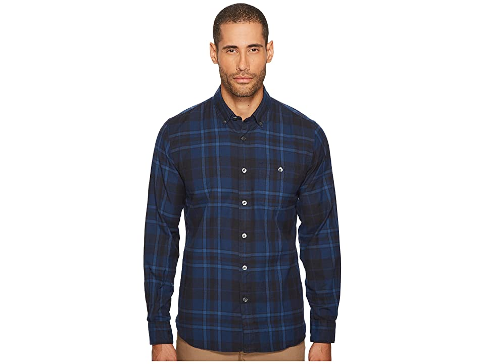 Todd Snyder Point Collar Plaid Flannel Shirt (Blue) Men