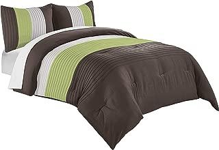 Chezmoi Collection Harper 3-Piece Luxury Striped Comforter Set (Queen, Green/Beige/Brown)