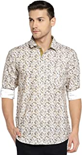 Solemio Men White & Brown Printed Casual Shirt (SH1039EYW)