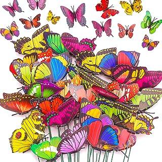 DERAYEE 40 Pack Garden Butterflies Stakes, Patio Indoor Outdoor Planter Pot Flower Christmas Party Waterproof Butterflies Stakes Decorations