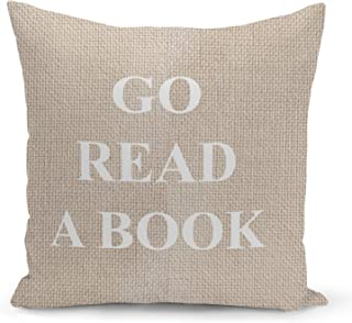 Read a Book Beige Linen Pillow with Pearl White Foil Print Reader Gift Sofa Pillow
