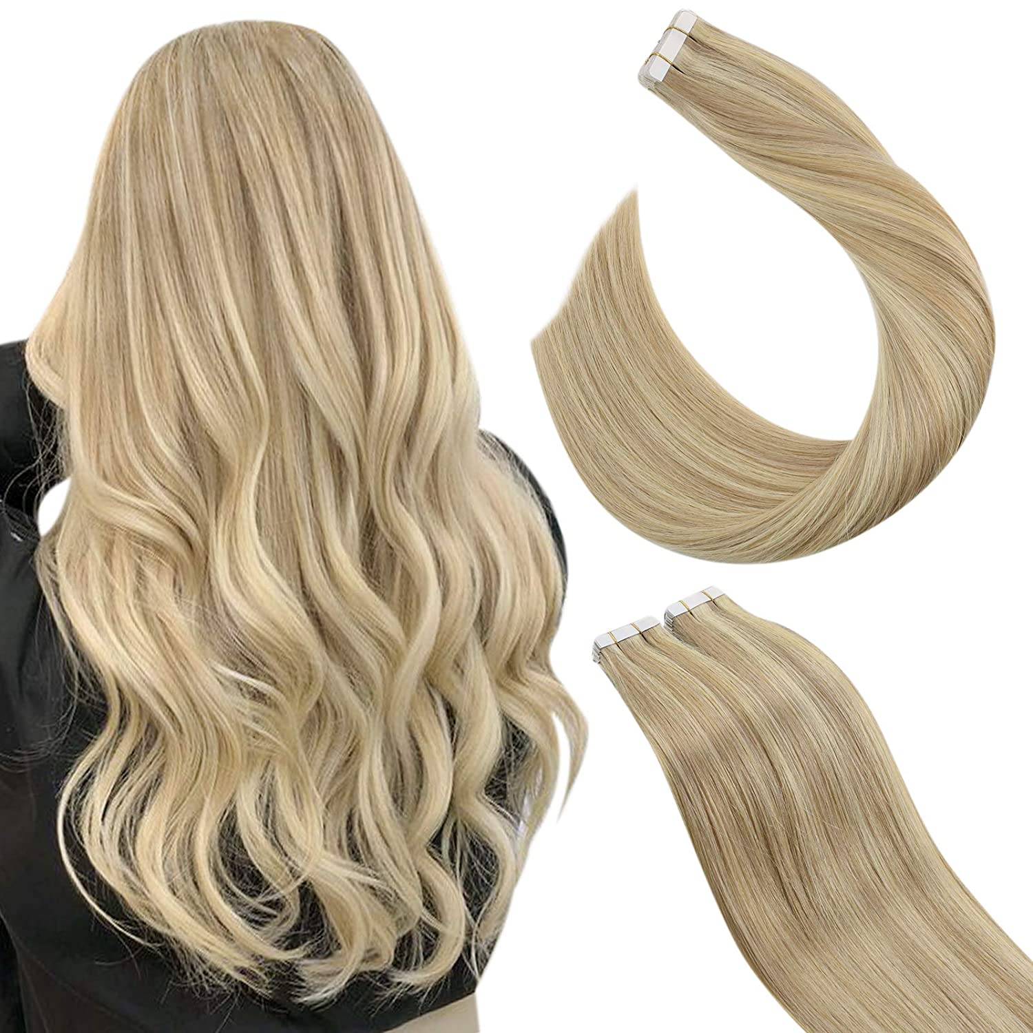 Ugeat 16 Inch Human Hair Extensions Highlight half Long-awaited Tape #27 in Carame
