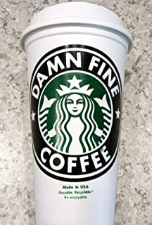 Twin Peaks Double R Diner Damn Fine Coffee Starbuck's 16 oz Reusable Travel Cup Lid in Glitter